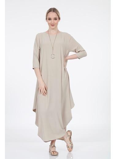 Vitrin Truvakar Kol Uzun Bol Form Elbise Bej